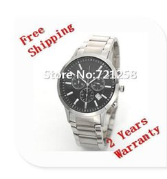 Wholesale Gent Watches - free hk shipping _Absolute luxury New Gent Chronograph Watch AR2434 2434 Mens Stainless Steel Black Dial Wristwatch +original box