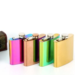 Wholesale Colorful Alcohol - 6 oz Rainbow Stainless Steel Hip Flask Gradient Colorful Drinkware Liquid Alcohol Vodka Whiskey Funnel Personalized Christmas Gift