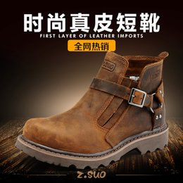 Wholesale British Martin - Z.SUO couples boots buckles desert boots British male shoe leather Martin boots tooling men's shoes ZS337 tide restoring ancient ways