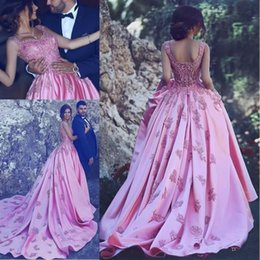 Wholesale Power Pick - Gorgeous 2018 Vintage Satin Ball Gown Lace Evening Dresses Scoop Neck Zipper Back Beaded Formal Gowns Prom Dresses Evening Wear Cheap