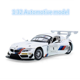 Wholesale Miniature Sound Cars - 1:32 Metal Alloy Diecast Toy Car Z4 GTR Model Miniature Scale Model Sound & Light Emulation Electric Pull Back Car Gift For Boys