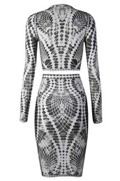 Wholesale Two Pieces Elegant Styles - Top quality 2015 Newest KHAKI AND WHITE PRINT LONG SLEEVE BANDAGE TWO PIECE HL Evening prom winter party elegant bodycon Dresses