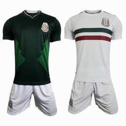 Wholesale National Soccer Jersey Wholesale - DHL free factory selling Mexico national 2017 CHICHARITO home green G.DOS SANTOS R.MARQUEZ good quality Mexico soccer jerseys set with short