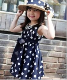 Wholesale Navy Dress Polka Dots Girls - Hot Sale 2016 Girls Clothes Navy Polka Dot Printed Lolita Style Children Clothes Girls 3~11Y Summer Dress Baby dresses for Princess girls