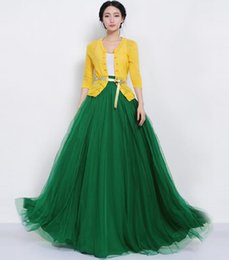 Wholesale Empire Waist Prom - fashion gauze tulle belt maxi tutu ball gown skirt summer spring women high waist large hem party prom princess pleated long skirt