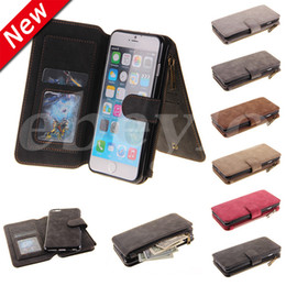 Wholesale Iphone Cover Zipper - Wallet Case For iPhone 6 7 Plus 2 In 1 PU Leather Cover Pouch Card Slot Photo Frame Zipper For S6 S7 Edge