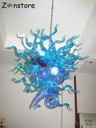 luzes de tira led comercial Desconto Vintage Design Forma azul original de vidro soprado candelabro Luzes LED Feito à Mão Murano Vidro Candelabro Iluminação
