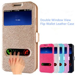 Wholesale Iphone 4s View Window Case - For iPhone 7 Double Window View Flip Wallet Leather Case Stand Holder Back Cover For iphone 4s 5s se 6 6s plus 7 plus samsung s8 s8 edge s7