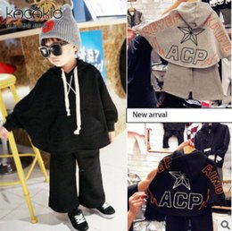 Wholesale Star Legging Pants - Kids casual outfits autumn boys girls letter printed hooded poncho capes +wide legged pants 2pcs sets fashion children star suits R0528