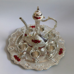 """Wholesale New Arrial - 2016 New arrial 12"""" plate silver color with red flower metal wine set tea set fashion zinc alloy wine set"""