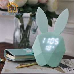 Wholesale Thermometer Night Light - Wholesale- Rabbit Bunny Digital Alarm Clock Green Pink LED Night Light Thermometer Table Wall Clock Built-in Lithium Battery rechargeable