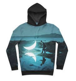 Wholesale Beautiful Hoodies - Real USA Size Beautiful Midnight Moon Glow 3D Sublimation print Hoody   Hoodie Plus Size