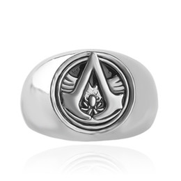 Wholesale Nail Signs - 4 Colors Alloy Assassins Creed sign finger rings band nail rings for men women Christmas gift fashion jewelry 080146