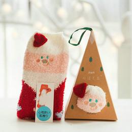 Wholesale Wholesale Fuzzy Slippers - Girls Fuzzy Cartoon Slipper Socks Santa Claus Christmas Animal Floor Socks 3Pair lot Random Style with Gift Box