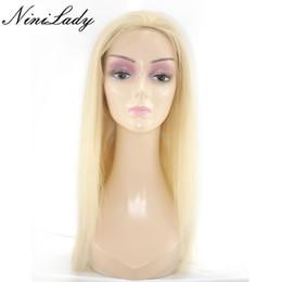 Wholesale Gluless Lace Wigs - Full Lace Human Hair Wigs Blonde 613 Peruvian Hair Straight Body Wave Gluless Lace Front Human Hair Wigs for Black White Women