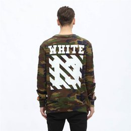 Wholesale Military Style Badges - OFF WHITE Mens Hoodies Military Style Long Sleeve Men And Women Hoodies Causal Hip Hop Sweatshirts Badge Mens Clothing Free Shipping