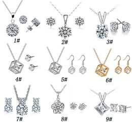 Wholesale Earring Variety - 9 Set high quality crystal diamond pendant necklace and earrings Sets a variety of styles for Women Jewelry Set Free Shipping
