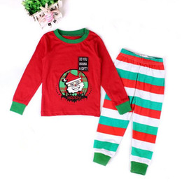 Wholesale Girls Santa Claus Clothing - Happy Santa Claus Christmas Outfit Girl Boy Green Trim Stripe Christmas Pajamas Set Baby Girls Sleepwear Top Pants Baby Clothes