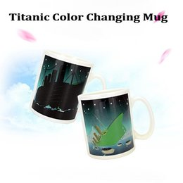 Wholesale White Porcelain Tea Cups - Wholesale personalized gift Heat Sensitive Color Changing Coffee Cup or Tea Morning Mug Heat Change Mug (Titanic) DHL Free Shipping