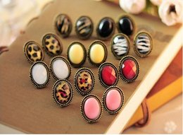 Wholesale Leopard Studs - Vintage women earrings jewelry oval leopard pattern ear studs ear pins gifts for her