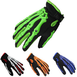 Wholesale Cycling Skeleton Gloves - New Full Five Fingers Gloves Skeleton Gloves Outdoors Sports Protective Gear Equestrian Racing Cycling Gloves 4Colors M L XL
