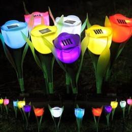 Wholesale Led Tulip Light - LED Tulip Solar Lights Artificial Flowers Tulip Lamps Outdoor Solar Lamps Yard Garden Path Way Solar Power LED Tulip Light CCA8305 120pcs