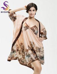 Wholesale Coffee America - Wholesale-Large Size Bust 96cm Silk Nightdress Robe Sets Luxury Europe America Style Women Sleepshirts Robes Summer Light Coffee Robe Set