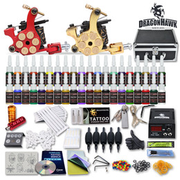 Wholesale Tattoo Gun Needle Kit - Complete Tattoo Kit 2 Guns Machines 40 Colors Ink Sets 50 Pieces Disposable Needles Power Supply 10-24GD USA Dispatch Free Shipping