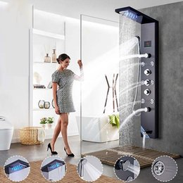 Wholesale Rubbing Oils - Shower Panels Nickel & Oil Rubbed LED Shower Panel Rain Waterfall Shower Head Temperature Screen Massage Jet Handshower Mixer Tap Faucets