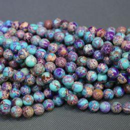 Perline aqua all'ingrosso online-Jasper Natural Stone Viola Mix Aqua Gemstone Imperatore Imperiale Jasper Beads Round Smooth Beads collana di donne di prezzi all'ingrosso che fanno gioielli