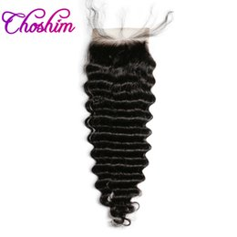 kl hair Coupons - Deep Wave Lace Closure Human Hair Natural Color Brazilian Choshim KL 4x4 Three Part Remy Hair Closure Bleached Knots With Baby Hair