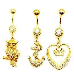 Wholesale Dangle Body Belly Ring - 10pcs 14G Free Shipping owl anchor crown charm pendant belly button rings white rhinestone Dangle Navel Piercing Umbigo Fashion Body Jewelry
