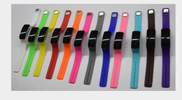 Wholesale Jelly Touch Screen - Waterproof Soft Led Touch Watch Jelly Candy Color Silicone Rubber Digital Screen Bracelet Watches Men Women Unisex Sports Wristwatch