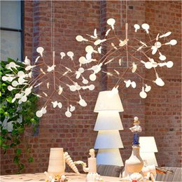 Wholesale Firefly Led Lamps - Modern Firefly LED Chandelier Acrylic Lamp Branch Ceiling Light Rose golden Metal Branches Atmosphere Lighting Fixtures