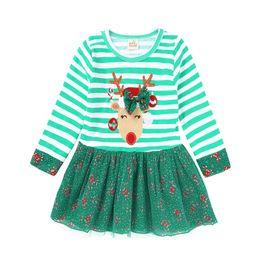 Wholesale Deer Print Dress - INS hot sell Christmas style new arrivals Girls Lovely Cartoon Christmas deer girls long sleeve cotton tutu dress