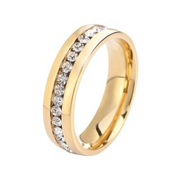 Wholesale Womens Gold Mix - 316L Titanium Ring,Fashion Womens Steel Ring Wholesale,Titanium Material on Gold Plated,Titanium Crystal Ring OTR27