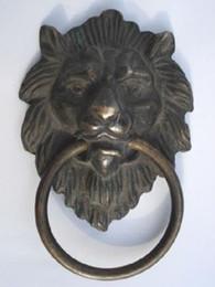 "Wholesale Antique Brass Door Handles - Chinese Bronze Fierce Lion Head Door Knocker 4.4""High 7""High Free Shipping"