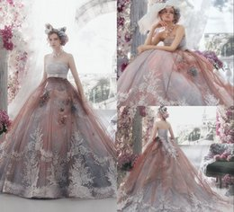 Wholesale Colour Lace Wedding Dresses - Different COlour Ball Gown Long Wedding Dress With Sash Sleeveless Sheer Wedding Gowns Beach Custom Made Lace Style Wedding Dresses