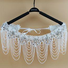 Wholesale Bridal Jewelry Wraps - 2016 Luxurious Crystal Rhinestone Jewelry Bridal Wraps White Lace Wedding Shawl Jacket Bolero Jacket Wedding Dress With Beaded Bridal Wrap