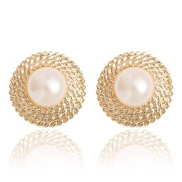 Wholesale Gold Cartilage Piercing - Hot Lovely Wedding golden Big Imitation Pearl Ear Cuff Jewelry Clip On Earring for Women Girls Bridal Cartilage Non Pierced