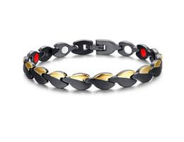 Wholesale Titanium Bracelet Germanium Magnet - Gold Black Color Titanium Steel 21cm Magnetic Anti-Fatigue Bracelet Men Jewelry Strong Magnets Germanium Mens Bracelets B872S