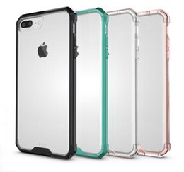 Wholesale Acrylic Iphone 4s - For iPhone 7 Plus 6 Plus 5SE 4S Transparent Clear Acrylic TPU Smart Phone Case Hybrid Tough Stylish Color Frame