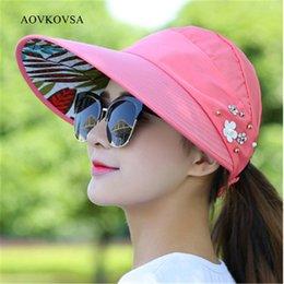 Wholesale Wholesale Canvas Cowboy Hats - Wholesale- AOVKOVSA 2017 fashion cotton canvas leisure travel summer girl sun hat all match UV foldable flower pearl Women sun hat