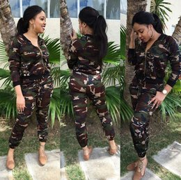Wholesale Camo Camp Coats - New Women Casual Outfit Camo Jacket and Pants Zipper Coat and Trousers