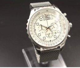 Wholesale Shanghai Sales - Hot Sale Brand 1884 Quartz-watch Men White Big Dial Fluted Case Silver Skeleton Silver Stinless Band Stopwatch Digital Watch
