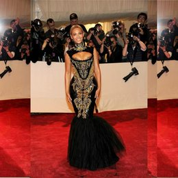 Wholesale Beyonce Sexy Gowns - 2016 New Sexy Gold Appliques Black Mermaid Evening Dresses Beyonce Gala Tulle Floor-Length Prom Party Celebrity Gowns