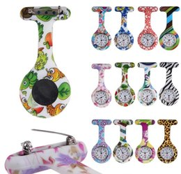 Wholesale Wholesale Pocket Watches Pins - wholesale Fashion Unisex Nurse Doctor Pin lady Silicone Rubber camouflage quartz watch Zebra Leopard flower Pocket candy watches