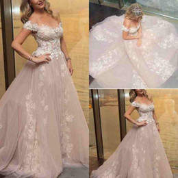 Wholesale Affordable Line Wedding Dresses - Off The Shoulder Sexy Plus Size Wedding Dresses Sweep Train Applique Beach Wedding Gown Cheap Affordable Bridal Dress