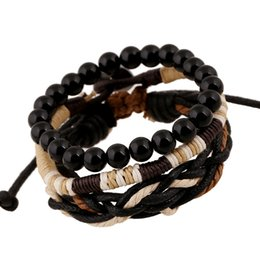 Wholesale Wooden Beads Wholesale Free Shipping - New Three-piece bracelets set wooden beads braided bracelets vintage wax cord woven bracelets free shipping