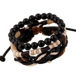 Wholesale Braided Bead Cord Bracelet - New Three-piece bracelets set wooden beads braided bracelets vintage wax cord woven bracelets free shipping